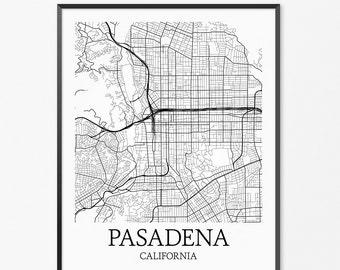 Pasadena Map Art Print, Pasadena Poster Map of Pasadena Decor, Pasadena City Map Art, Pasadena Gift, Pasadena California Art Poster