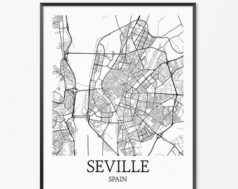 Seville Map Art Print, Seville Poster Map of Seville Decor, Seville City Map Art, Seville Gift, Seville Spain Art Poster