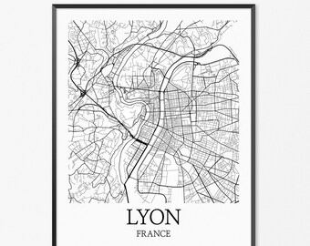 Lyon Map Art Print, Lyon Poster Map of Lyon Decor, Lyon City Map Art, Lyon Gift, Lyon France Art Poster