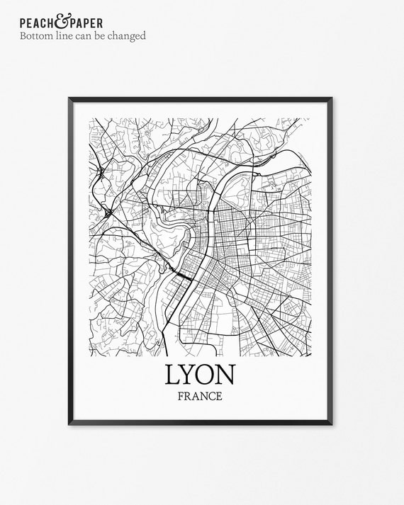 lyon carte art print lyon affiche carte de decor de lyon. Black Bedroom Furniture Sets. Home Design Ideas