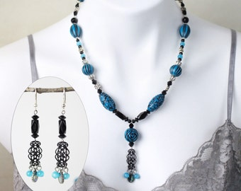 """Jewelry Set - Turquoise beaded drop pendant necklace (20"""") and matching earring set - #1014"""
