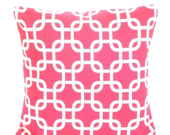 Pink Pillow Covers, Decorative Throw Pillows, Cushions, Candy Pink White Chain Link Gotcha, Hot Pink, Couch Bed, One or More All Sizes