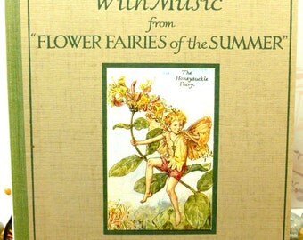 Rare First Edition Flower Fairies Book with Dust Wrapper by Cicely Mary Barker 1926 Summer Songs with Music Large