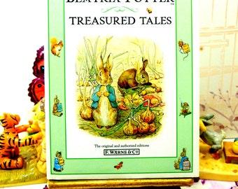 Beatrix Potter Treasured Tales Tom Kitten, Benjamin Bunny, Jeremy Fisher, Pigling Bland Vintage Childrens Book
