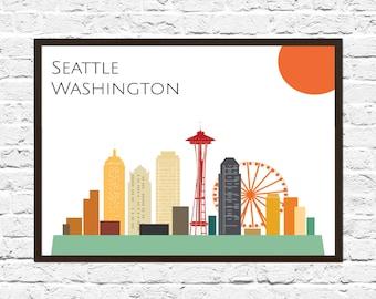 Seattle Cityscape, Seattle Art, Skyline, Cityscape, City Print, City Poster, Wall Art, Seattle Skyline, Abstract