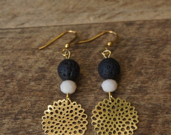 Gold-colored earrings with lava and beautiful beads