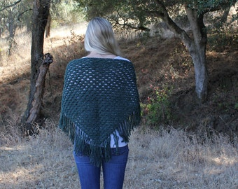 Crochet Fringe Triangle Scarf/Shawl/Wrap/Forest Green