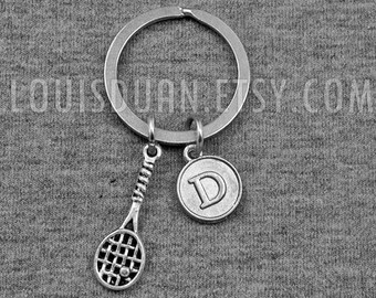 Silver Tennis Key chain  -Tennis Racket keychain -Initial Keychain -Your Choice of A to Z