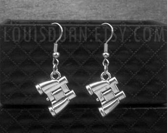 Silver Telescope Earrings -Bird Watch Earrings -Binocular Earrings -Nautical Earrings