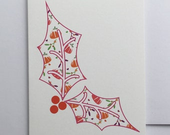 Christmas card - Patterned - Holly