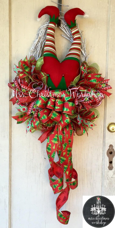 Christmas Grapevine Wreath Elf Wreath With Legs Deco Mesh