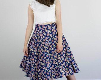 Vintage 1930s Blue Floral Skirt / Full / High Waist / S/M