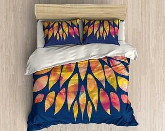 Blue Duvet Cover, Blue Comforter, Colorful Bedding, Red Orange Yellow Bed Cover, King Comforter, Queen Duvet, Twin Duvet, Bedroom Decor