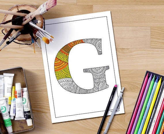 zentangle alphabet coloring pages for adults letter g doodle
