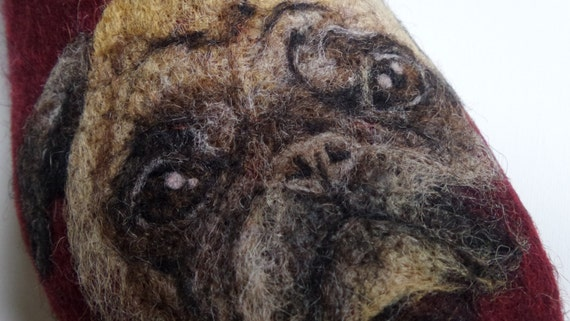 Felted Pug painted slippers Unusual Pet owner present Dog art