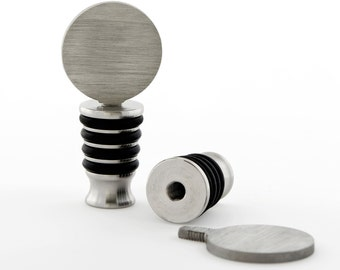 DIY Bottle Stoppers - Made in USA Food Grade Stainless Steel Winery Approved - Glue On/Engrave - Wine/Liquor/Oil Standing Cork - Circle Top