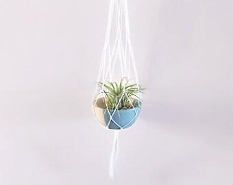 Airplant holder, Macrame hanging planter, wood bowl, hanging plant decor,  indoor hanging planter, wood plant hanger,  home decor,  planter