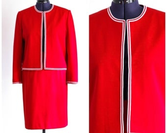 80s does 60s red skirt suit