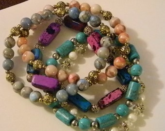 Set of 5 - Multi Colored Bead Stone Pearl Accents Stretch Bracelets