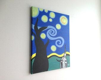 Starry Night art, Starry Night Painting, Night Art, Night Landscape, Abstract Art, Abstract Painting, Wall art, wall Decor, housewarming