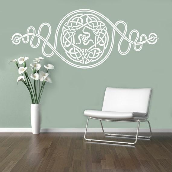 Celtic pattern wall vinyl decal celtic ornament wall sticker for Celtic bedroom ideas