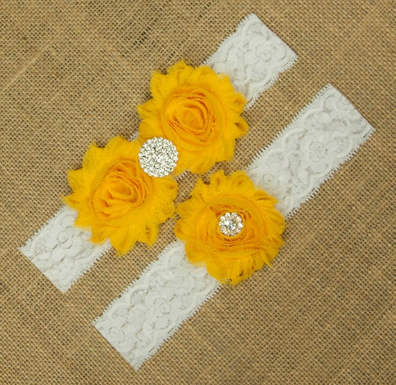 Yellow Garter Belt Flower Wedding Garter Yellow Gold Garter