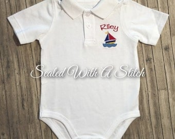 Sailboat Polo Onesie-With Embroidered Name