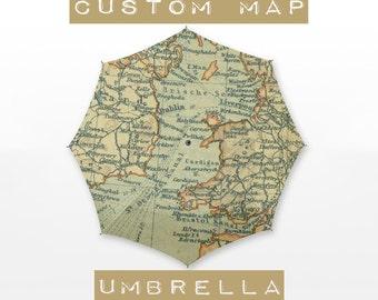 "Custom Map Umbrella - 42"" 3 Folds"