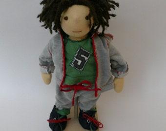 Waldorf doll Bobby 13 inches/33cm tall, waldorf inspired doll, steiner doll, cloth doll, rag doll, soul doll, fabric doll, handmade, ready