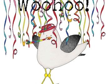 Greetings card - 'Woohoo!' seagull card