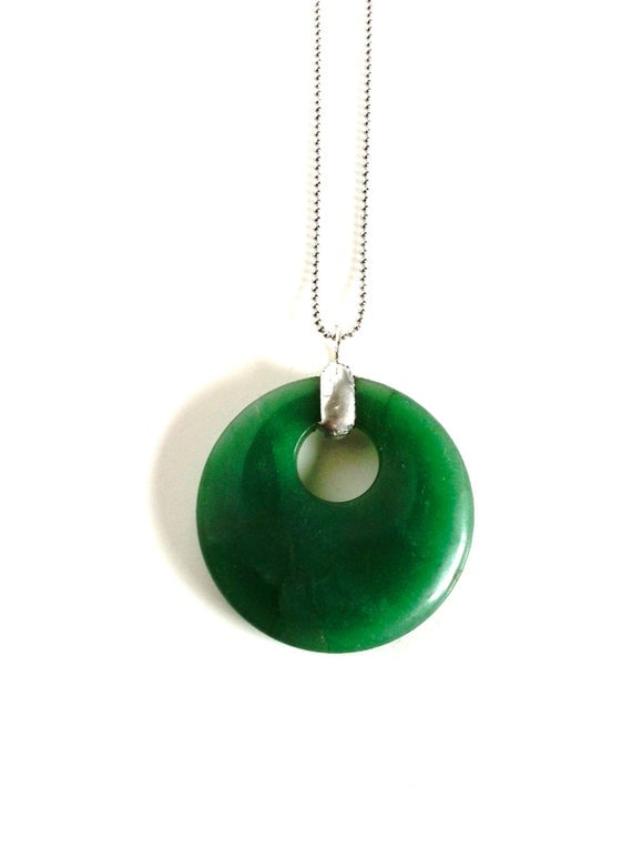 jade and silver infinity pendant green agate donut on bullet