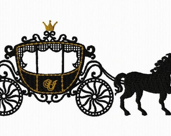 Embroidery of a carriage of Princess for machine embroidery format 5 x 7