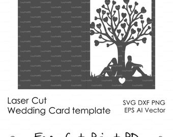 "Bride & Groom Tree couple lovers  wedding card love story Invitation 5x7"" ( svg, dxf, ai, eps) laser Stencils diecut paper Digital Download"