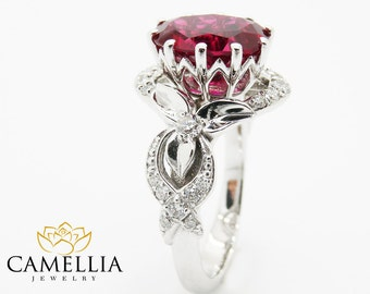 oval natural ruby alternative ring 14k white gold ruby engagement ring unique alternative engagement ring - Ruby Wedding Rings