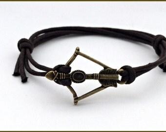 Arrow bracelet men, arrow cord bracelet, Cord bracelet men, Bronze arrow jewelry, bow and arrow bracelet, arrow cuff, bronze bow and arrow
