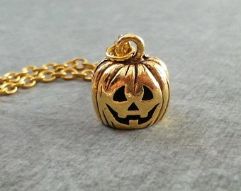 Jack O Lantern Necklace SMALL Gold Pumpkin Necklace Jack-O-Lantern Jewelry Halloween Necklace Halloween Jewelry Halloween Gift Pumpkin Charm
