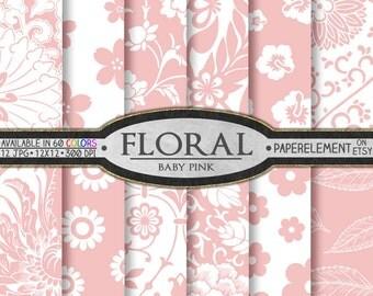 Baby Pink Floral Digital Scrapbook Paper Pack - Printable Flower Backgrounds - Instant Download