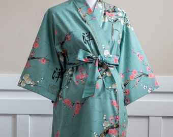 Maternity Kimono Robe • Maternity Lined Long robe • Hospital Robe • Nursing Robe • Dressing Gown • XS - Plus size.Floral cotton GG Teal Pink