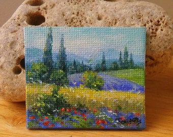 Original dollhouse oil painting - Miniature painting - Miniature landscape painting - country style - 1 12 dollhouse wall art