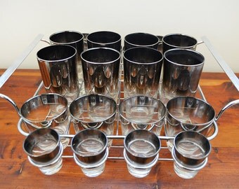 Mid Century Barware - 24 Piece Mercury Silver Glasses with Chrome Caddy Set - Highball, Rocks and Shot Glasses