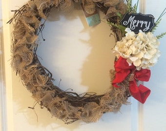 "16"" Grapevine & Burlap ""Merry"" Wreath"