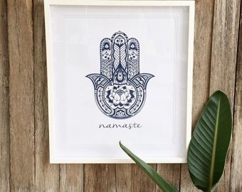 Namaste. Hamsa print in Navy blue. A4 or A3