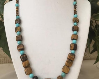 Tigers Eye and Turquoise Gemstone Necklace.