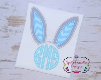 Bunny Ears Monogram Applique Design, Machine Embroidery Design, Boy Easter Embroidery, Girl, Easter Eggs, Easter Basket 4x4, 5x7, 6x10, 7x11