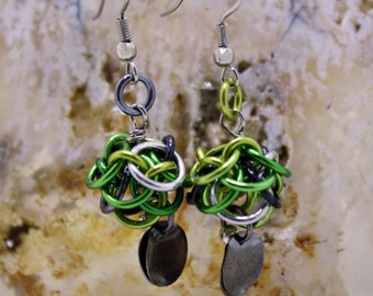 Green Ball Chainmaille Earrings