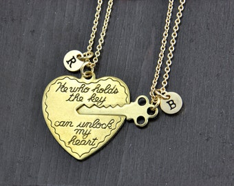 He who holds the key can unlock my heart Necklace, Heart Key Necklace Set, Boyfriend Girlfriend gift, His and Her necklace, Anniversary gift
