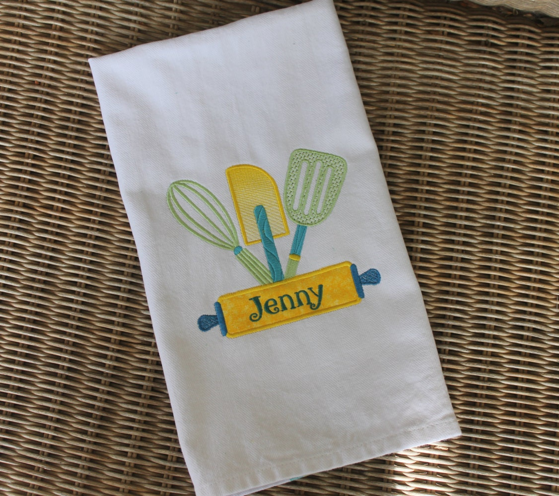 Personalized Kitchen Towel Embroidered Kitchen Towel Kitchen