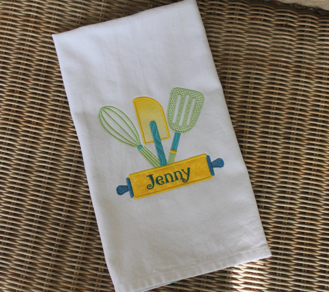 Embroidered Towels Custom: Personalized Kitchen Towel Embroidered Kitchen Towel Kitchen