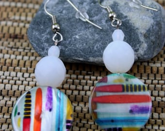 Printed Shell and Vintage Glass Bead Earrings
