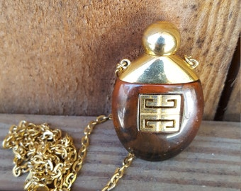 Givenchy Tortoise Shell Lucite Perfume Necklace